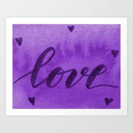 Valentine's Day Watercolor Love – purple Art Print