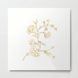 Golden Flower on White Background Metal Print
