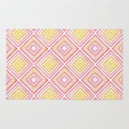 Tropical Watercolor Diamond Pattern - Pink, Peach & Yellow Rug