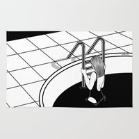 swim Area & Throw Rugs featuring Morning Swim by Henn Kim