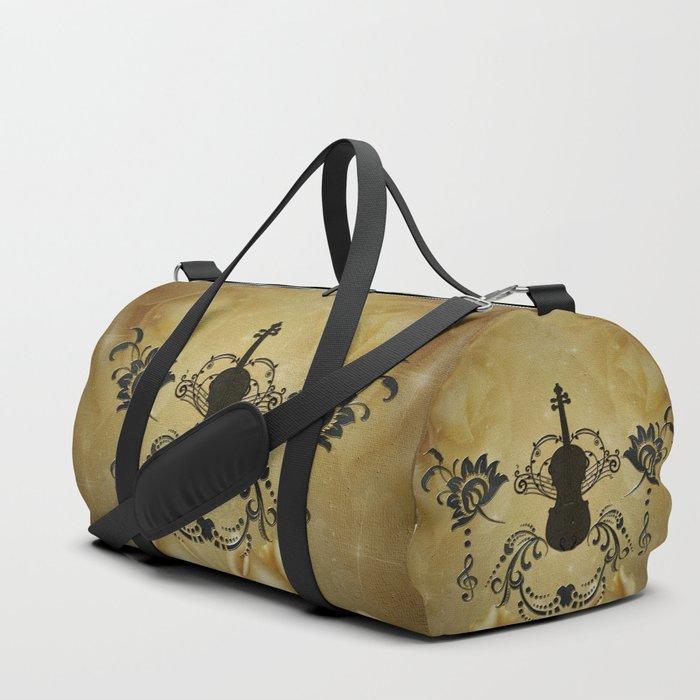 Wonderful violoin with elegant floral elements Duffle Bag