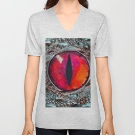 BLAZING RED DRAGON'S EYE & SCALY GREY  SKIN FROM  ART Unisex V-Neck