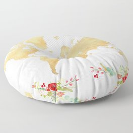 Floral and gold world map without labels Floor Pillow