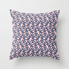 Olympic Navy on Blush Throw Pillow