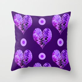purple heart and  violet spots Throw Pillow