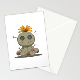 Voodoo doll in yoga padmasana lotus pose Stationery Cards