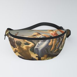 The Fruited Plain, Achelous and Hercules Mural Panel 3 landscape painting by Thomas Hart Benton Fanny Pack