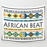 african Wall Tapestries featuring African beat by mike lett