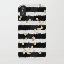 Modern black watercolor stripes chic gold confetti iPhone Case