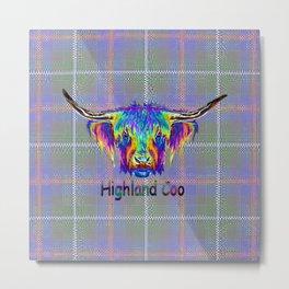 Vibrant Highland Cow on tartan digital art. Metal Print