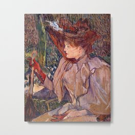 Woman with Gloves Metal Print