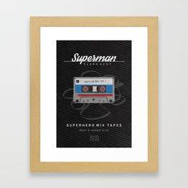 Superhero Mix Tapes - Superman Framed Art Print