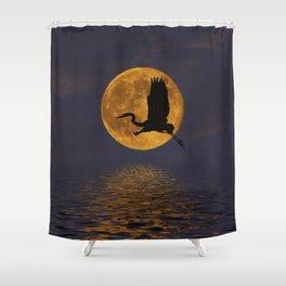 Heron & The Harvest Moon Shower Curtain