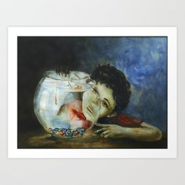 The Kid and the Fishtank Art Print