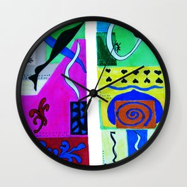 Paradise color . Inspiration from Matisse; poster prints, wall decor, bright Graphicdesign, bird Wall Clock