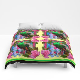 PINK ROSES & GREEN PEACOCK YELLOW GARDEN FLORAL ABSTRACT Comforters