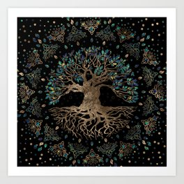Tree of life -Yggdrasil Golden and Marble ornament Art Print