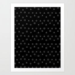 black gaming pattern - gamer design - playstation controller symbols Art Print