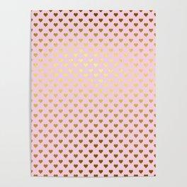 Princesslike - pink and gold elegant heart ornament pattern Poster