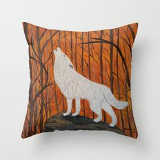 white wolf in the sunset Throw Pillow