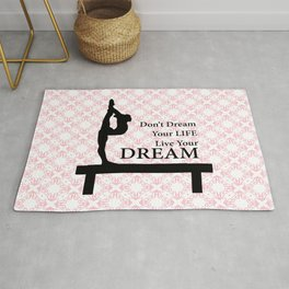 Gymnastics Don't Dream Your Life Live Your Dream-Millennial Pink Rug