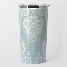 Lace & Shadows - soft sage grey & white Moroccan doodle Travel Mug