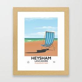 Heysham Lancashire vintage train poster Framed Art Print