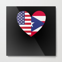Puerto Ricans Puerto Rico Heart USA Flag Metal Print