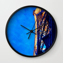 Paris France Vintage Lit Up Night Eiffel Tower Historic Landmark Monument Wall Art Print Wall Clock