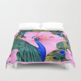 PINK HIBISCUS BLUE PEACOCK PATTERN ART Duvet Cover