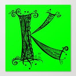 k Black on Green Canvas Print
