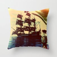 pirate ship Throw Pillows featuring pirate ship by Ancello