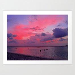 Swimming Towards Sundown Art Print