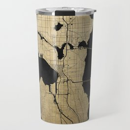 Seattle Black and Gold Street Map Travel Mug