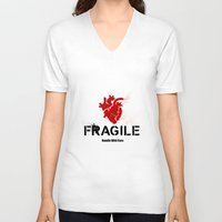 anatomical heart V-neck T-shirts featuring Fragile Anatomical Heart(RED) by J ō v