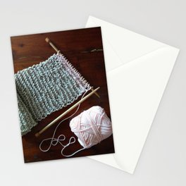 knitting, knitting photos, oatmeal color, peach, natural color, scarf, cotton Stationery Cards