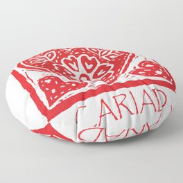 Cariad Darling sweetheart lino print red Floor Pillow