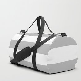 Gray and White Stripes Duffle Bag