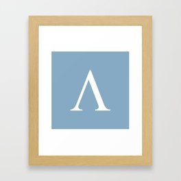 Greek letter lambda sign on placid blue background Framed Art Print