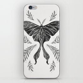 Watercolor Luna Moth in Black and White iPhone Skin