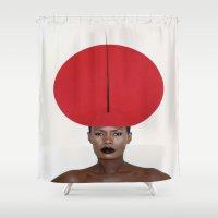 phil jones Shower Curtains featuring Grace Jones by I Love Decor