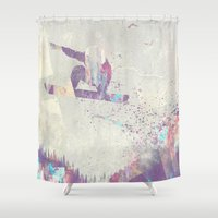 snowboard Shower Curtains featuring Explorers IV by HappyMelvin