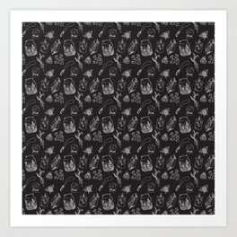 Witchy Aesthetic Pattern, Black and White, Spooky Art Print