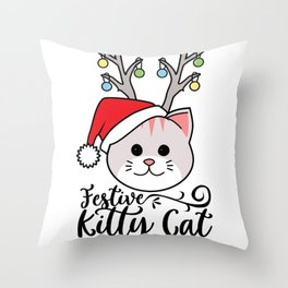 Festive Kitty Cat with Reindeer Antlers and Santa Hat design Throw Pillow