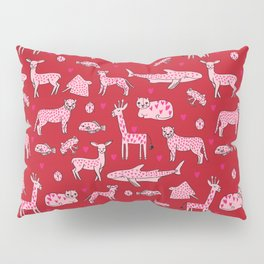 valentines animals nature sharks giraffe deer cats nursery love hearts Pillow Sham