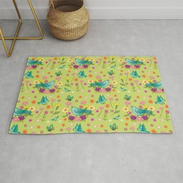 Blue Birds on Chartreuse Rug