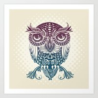 egyptian Art Prints featuring Baby Egyptian Owl by Rachel Caldwell
