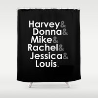 suits Shower Curtains featuring Suits - The Cast by Mental Activity