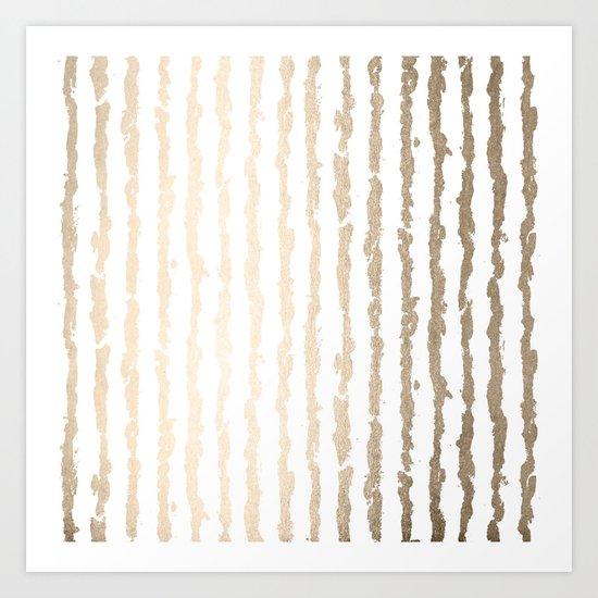 White Gold Sands Vertical Ink Stripes Art Print