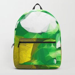 psychedelic skull art geometric triangle abstract pattern in green yellow Backpack
